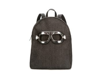 denim backpack with glasses
