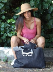 Borsa in denim con occhiali Poshead